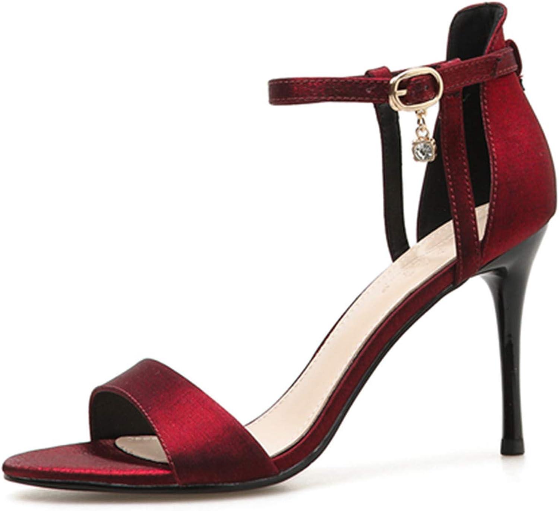 Mashiaoyi Women's Peep-Toe Ankle-Strap Buckle Diamond Heeled Sandals