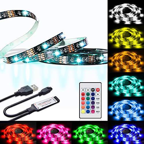Preisvergleich Produktbild LED TV Strips Backlight,  U2C 6.6FT / 2M Bias Lighting with RGB 16 Colors IR Controller for Led Strip Lights Kit for Home Theater,  PC,  Laptop Background Lighting