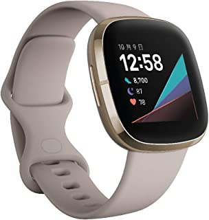 Fitbit Sense Alexa搭載/GPS搭載 スマートウォッチ Lunar White/Soft Gold ルナホワイト/ソフトゴールド L/S サイズ [日本正規品]