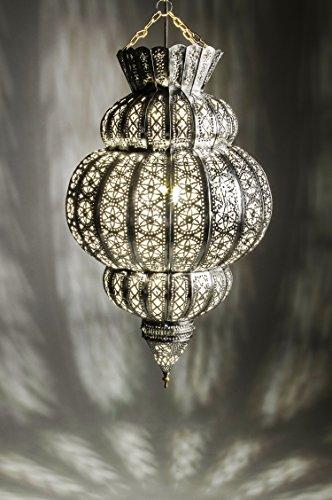Orientalische Lampe Pendelleuchte Silber Harem 45cm E27 Lampenfassung | Marokkanische Design Hängeleuchte Leuchte aus Marokko | Orient Lampen für Wohnzimmer, Küche oder Hängend über den Esstisch