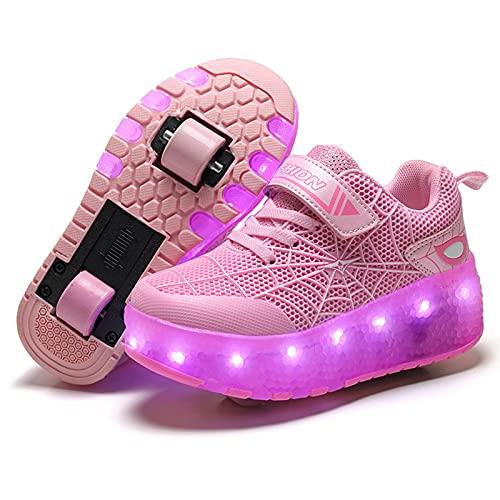 Unisex Niños Patines de Ruedas LED Zapatos con Ruedas Niños Niñas Luces LED Luminoso Skateboarding Deportes Al Aire Libre Zapatillas de Deporte Cruzadas Zapatillas de Correr con Carga USB,Pink-37