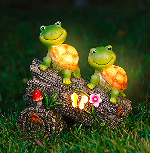 WOGOON Garden Turtle Figurines Outdoor Decorations, Solar Powered Sweet Frog Face Turtles Resin Statue with 4 LED Lights, Garden Art Spring Fall Winter Christmas Decor for Patio Lawn Yard…