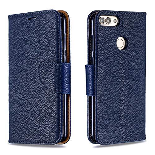 Funda Compatible para Huawei P Smart/Huawei Honor 7S [Garantía de por Vida],Cierre magnético Snap Flip Proteccion Caso Carcasa Libro de Cuero con Ranuras para Tarjetas y Soporte- Azul Oscuro