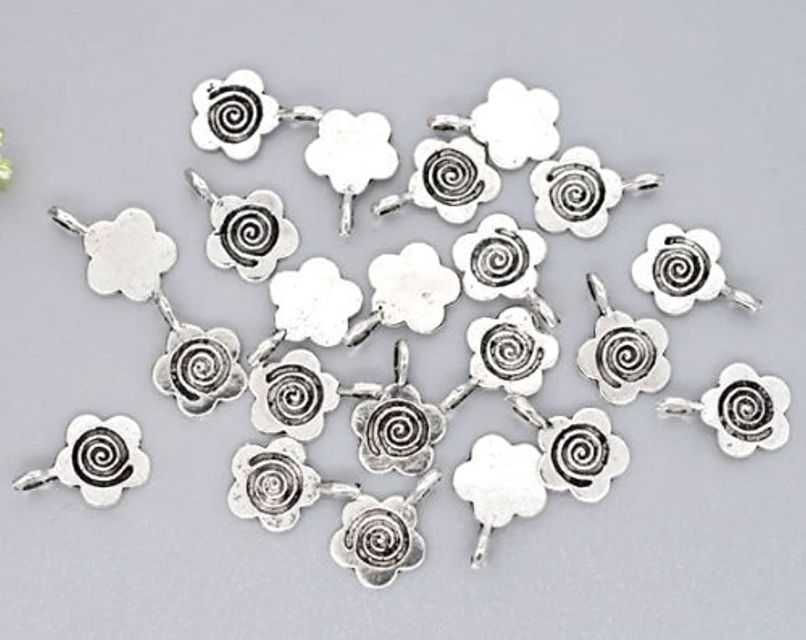 50pc Antiqued Silver Flower Glue on Bail 15mm x 11mm Pendants Jewelry Making ...