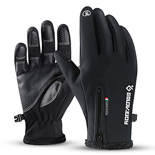 Winter Warm Gloves, Riding Skis Outdoor Windproof Waterproof Mittens, Touch Screen Full Palm Non-slip Wear-resistant Climbing Sports Driving Gloves, Best Gifts for Cycling Skiing ( Color : Black )