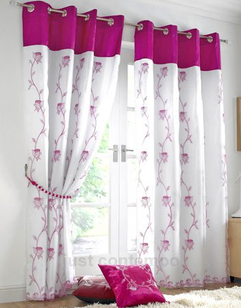 Just Contempo Tende, Poliestere, Floral Cerise, 56 x 72 Inches