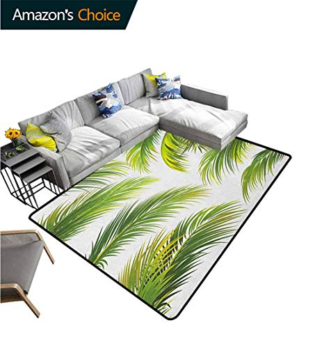 Read About YucouHome Palm Leaf Abstract Area Rug for Bedroom, Vivid Palm Leaves Growth Jungle Lush F...
