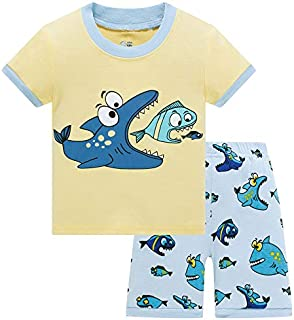 Image of Cartoon Shark Pajama Shorts Set for Boys and Toddler Boys - See More Prints