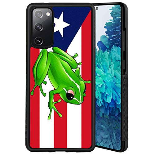 Puerto Rico Flag Frog Samsung Galaxy S20 FE Case Black TPU Protective case Shockproof Non-Slip Soft Designed Phone case for Samsung Galaxy S20 FE