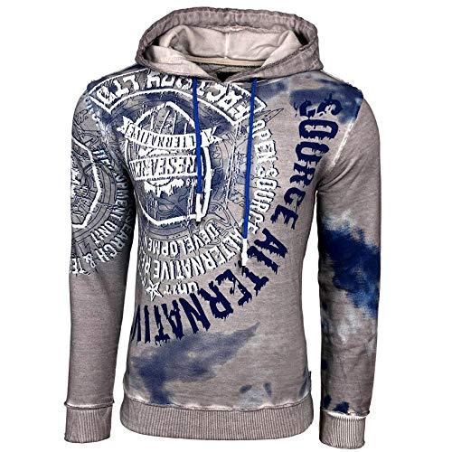 Rusty Neal Herren Sweatshirt Batik Hoody Verwaschen Oil Washed Used Kapuzenpullover 125, Größe:L, Farbe:Grau