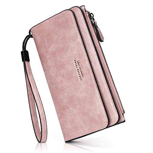 PU-Leder Damen-geldbörse Lang Portmonee Große Kapazität Geldbeutel Damen RFID-Schutz Portemonnaie Elegant Clutch für Frauen (Handschlaufe) (Dark-pink)