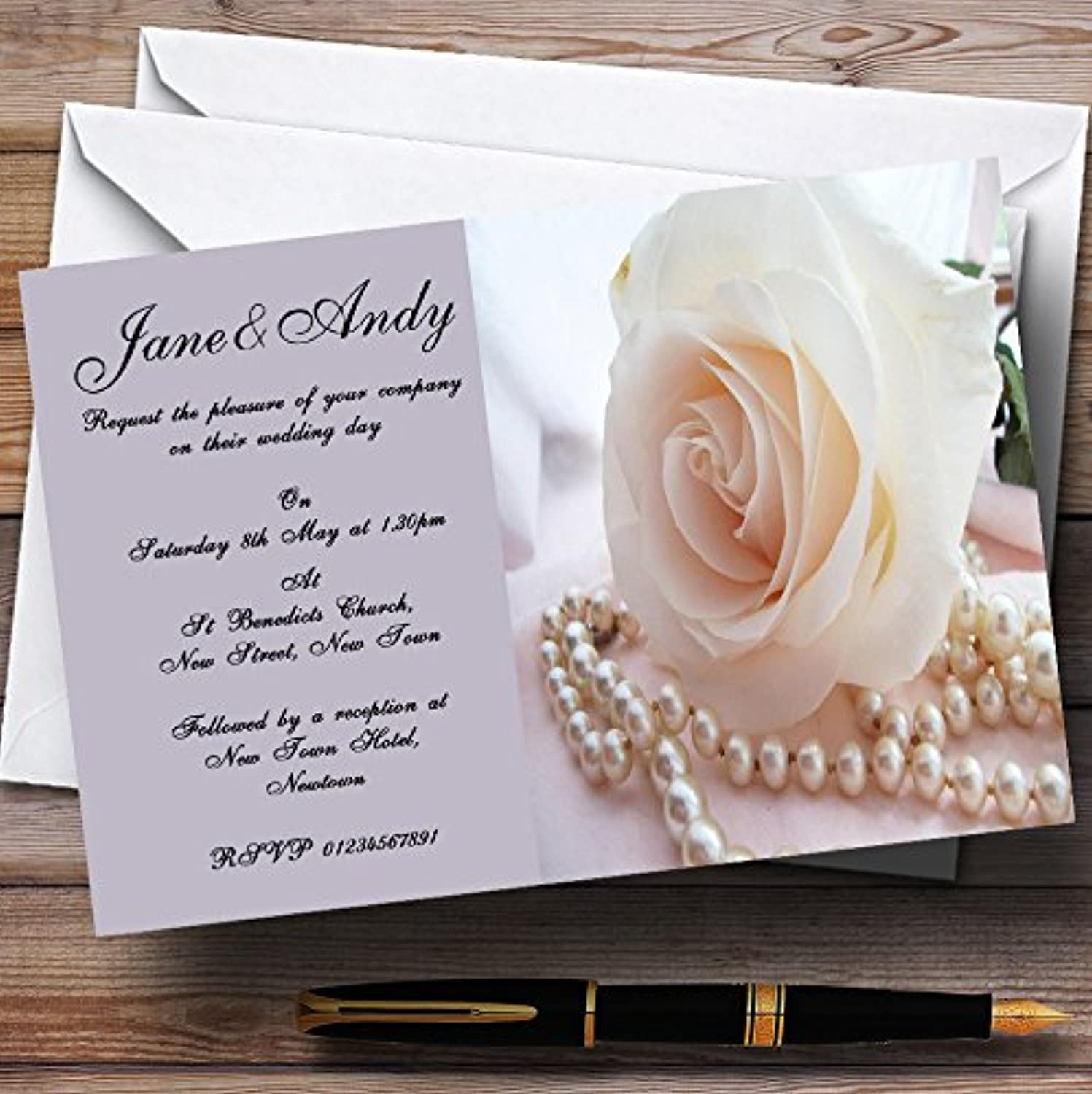 purplec pink Pearls Personalised Evening Reception Invitations   Invites & Envelopes