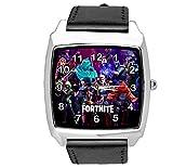 TAPORT® Reloj cuadrado de cuero negro para los fans de FORTNITE