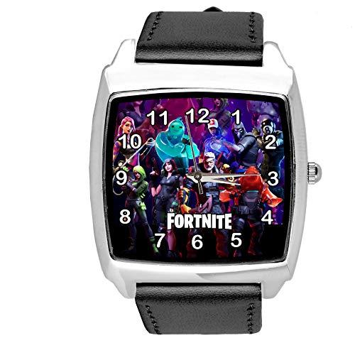 Taport® Quadratische Armbanduhr aus schwarzem Leder für FORTNITE Fans