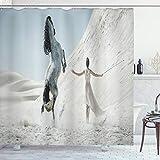 ABAKUHAUS Pferd Duschvorhang, Dame mit weißem Pferd, mit 12 Ringe Set Wasserdicht Stielvoll Modern Farbfest & Schimmel Resistent, 175x240 cm, Blaugrau Weiß