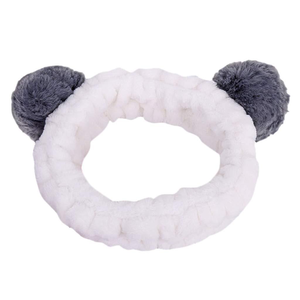 LODDD Women Fluffy Elastic Hairband Stereoscopic Plush Panda Ear Cute Head Lovely Hair Band