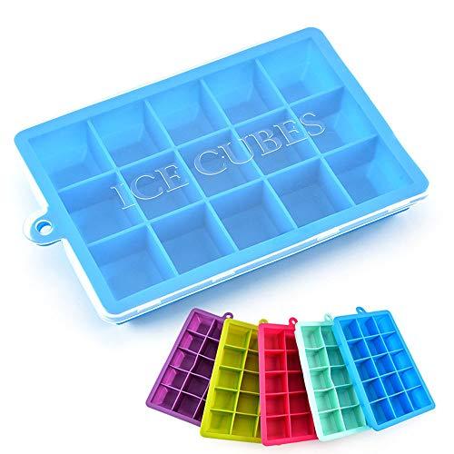 Ningz0l ijsblokjesvorm met deksel, 15 roosters, ijsblokjesbox, 20 x 12,5 x 2,5 cm, 5 stuks