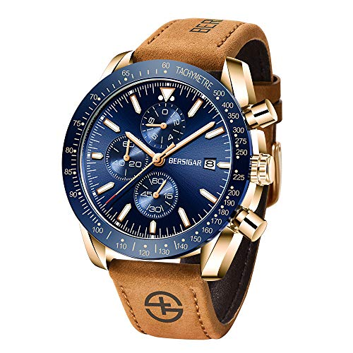 Herrenuhr BERSIGAR Quarzwerk Uhren für Herren 3ATM wasserdichte Herren Armbanduhren Multifunktionaler Chronograph mit Kalender Leuchtanaloges Zifferblatt Datumsanzeige Business Casual