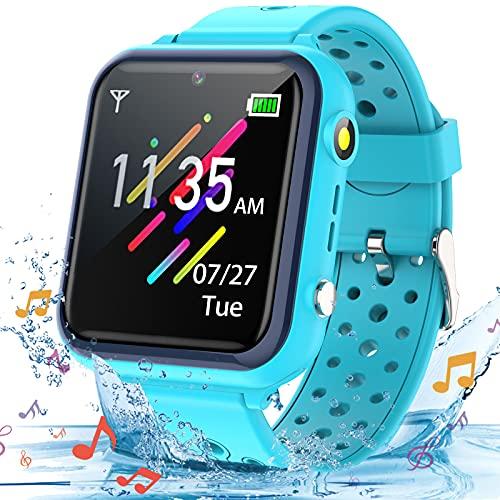 Smooce Smartwatch Kinder Telefon,Wasserdicht Musik Smartwatch für Kinder,Kinder Smartwatch mit 11 Spiele SOS Anruf Kamera Stoppuhr Wecker Rekorder Rechner für Jungen Mädche (Blue)