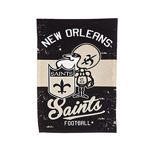 """Team Sports America New Orleans Saints NFL Vintage Linen House Flag - 28""""W x 44""""H Indoor Outdoor Double Sided Decor Flag for Football Fans"""