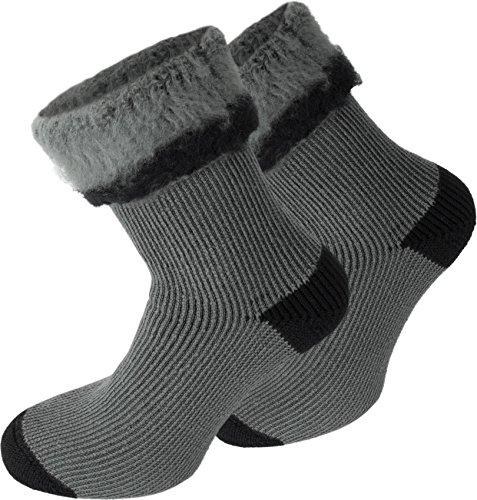 Polar Husky® 3 Paar wärmende Wintersocken warme Kuschelsocken für Damen und Herren bis Größe 50 Farbe Extrem/Hot/Grau/Schwarz Größe 47-50
