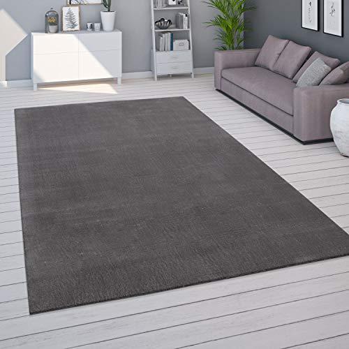 Paco Home Teppich Wohnzimmer Kurzflor Waschbar Weich Modernes Einfarbiges Muster, Grösse:140x200 cm, Farbe:Anthrazit