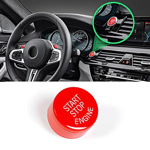 Sports Red Start Stop Engine Switch Button For BMW,Jaronx Engine Power Ignition Start Stop Button Replacement(Fits: BMW 1 2 3 4 5 6 7 X1 X3 X4 X5 X6 F30 F10 F01 F15 F25 G30 G31 G11 G12)