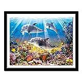 Xevkkf 5D DIY Taladro Redondo Completo Pintura de Diamante Punto de Cruz Juego de Delfines Bordado de Diamantes de imitación decoración del hogar Regalo 40x50cm