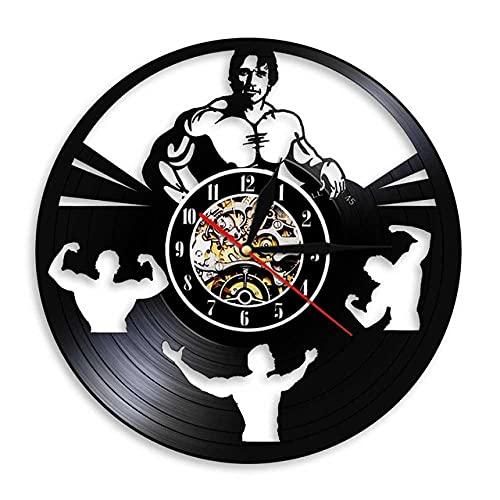 Reloj De Pared De Vinilo Hombre Fitness Reloj De Registro De Vinilo De Diseño Moderno Vintage Handmade Amueblar Hogar Oficina