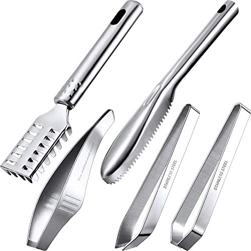 5 Pieces Fish Scaler Brush Stainless Steel Sawtooth Fish Scaler Remover, Fish Bone Tweezers Flat and Slant Tweezers for Kitchen Tool Cleaning Fish Scale and Remove Fish Bone Faster and Easier