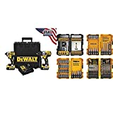 DEWALT DCK299P2 20V MAX XR 5.0Ah Premium Cordless Hammerdrill & Impact Driver Combo Kit with DEWALT DWA2FTS100 Screwdriving and Drilling Set, 100 Piece