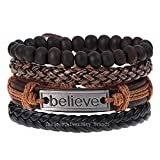 University Trendz Multicolor Stone Beads Inspirational Believe Words Metal Leather Bracelet for Men and Women (Set of 4)