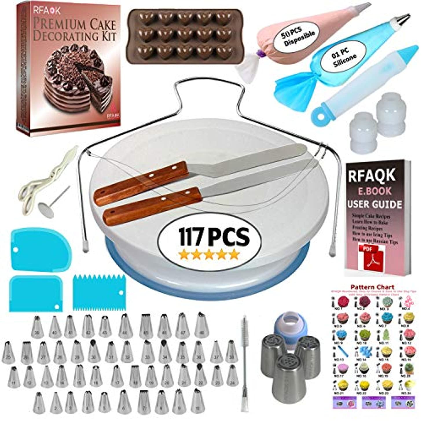 117 Pcs Cake Decorating Supplies Kit for Beginners-1 Turntable stand-48 Numbered icing tips with pattern chart & E.Book-1 Cake Leveler-Straight & Angled Spatula-3 Russian Piping nozzles-Baking tools