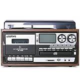 WYLDDP Vintage Gramophone Retro, Reproductor de Tocadiscos de Vinilo con 13 Funciones Reproductor de CD Phono Reproductor de Cassette Grabador USB MP3 y Bluetooth,A