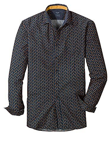 OLYMP Camisa informal para hombre, con impresión digital sobre un liso, corte moderno, cuello Kent, Amarillo 51, XXL