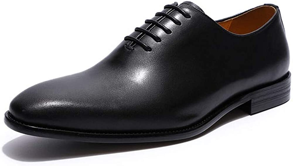 Mens Shoes Leather Classic Oxfords Plain Toe Brogue Lace-Up Wedding Party Modern Formal Business Shoes for Men
