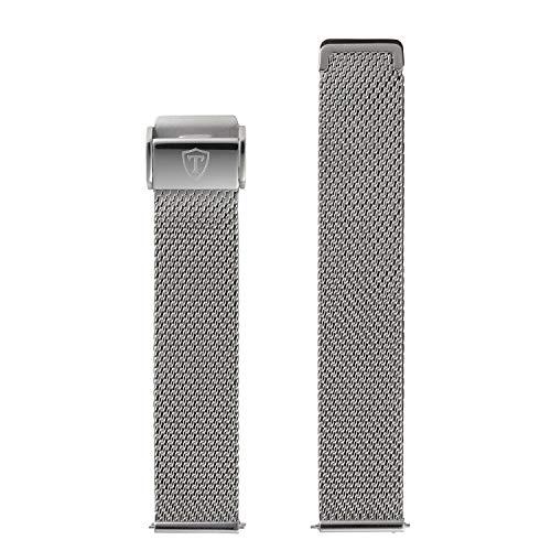 DETOMASO Uhrenarmband Milanaise Edelstahl-Armband 20mm 22mm 24mm mit Schnellwechsel Federsteg (22mm, Milanaise - Silber)