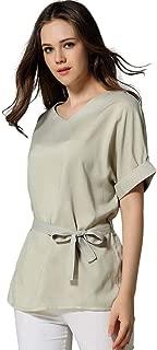 Women Shirt Blouse,Ladies Tunics V Neckline Self Tie Short Sleeve Solid Tops T-Shirt by MEEYA
