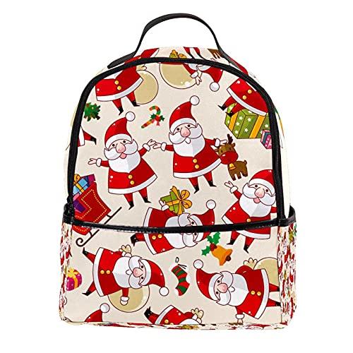 ATOMO Mini mochila casual de dibujos animados Navidad Papá Noel regalo reno rojo pu cuero viaje bolsas de compras Daypacks