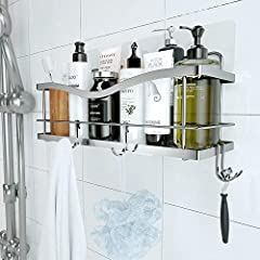 【Transparent Traceless Powerful Adhesive】- The shower caddy is easy and quick to install. No drilling and tools required. Strong adhesive can be pasted on the wall for a long time. It is more durable and sturdier than the suction cup 【Large Storage C...
