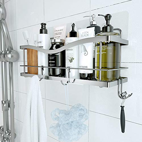 KINCMAX Shower Caddy Basket Shelf with Hooks for Hanging Sponge and RazorShampoo Holder OrganizerNo Drilling Adhesive Wall Mounted Bathroom ShelfRustproof SUS304 Stainless Steel
