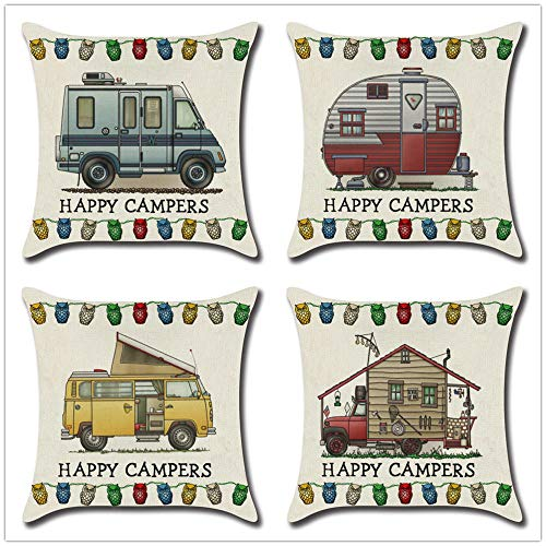 ZYFSKR Cotton Linen Pillow Covers Throw Pillow Covers Decorative Cushion Covers Cushion Cover For Dining Car Rv For Living Room Sofa Couch Bed Pillowcases 4 Pcs 45X45Cm