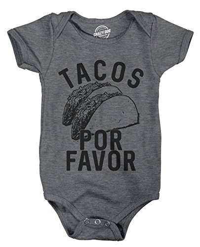 Crazy Dog T-Shirts Creeper Tacos Por Favor Funny Shower Gift for Newborn Baby Shirt Toddler (Dark Heather Grey) - 12 Months