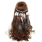 AWAYTR Damen Hippie Boho Indianer Stirnband Feder Stirnbänder für Abendkleider Halloween...