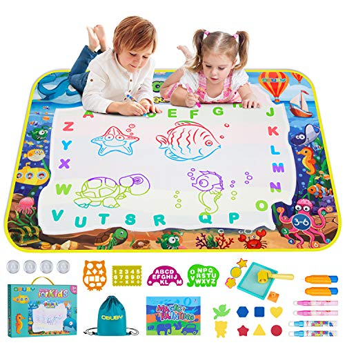 Obuby Aqua Magic Doodle Mat Kids 47 x 35 Inches Water Color Drawing Board Sea World Coloring Writing Educational Toys Gift for Boys Girls Age 3 4 5 6 7 8 9 10 11 12 Year Old Toddler