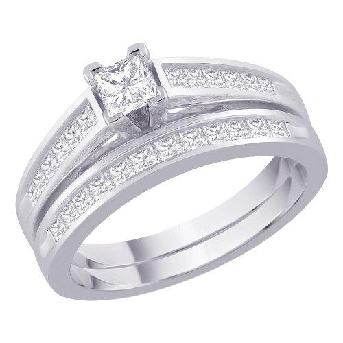 Katarina - Anillo de compromiso de diamante con centro de corte princesa y una banda a juego en oro blanco de 14 quilates (1 quilate, G-H, SI2-I1) (talla-10.75)