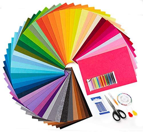 Homewit Feltro Colorato Feltro in Fogli, 50 Colori Tessuto in Feltro 20*30 cm + 7 Accessori per Cucito - Feltro e Pannolenci Usato per DIY Mestieri Protezione Ambientale Bricolage e Cucito