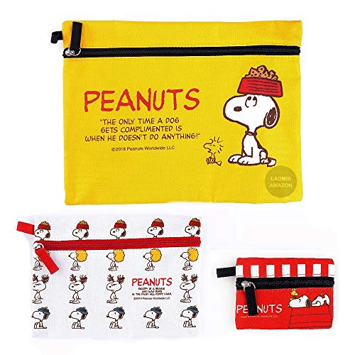 Peanuts Snoopy Multi-Purpose Zippered Bags/Pack of 3 (Yellow [ SPR-921 ])