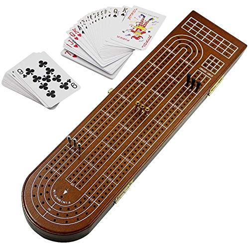 Juegoal Wood Cribbage Board Game Set 3 Tracks with Metal