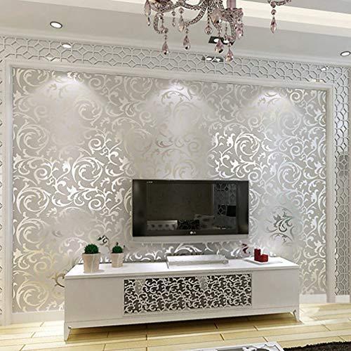 Sebastianee - Carta da parati 3D, 10 m, tessuto floccato, per la casa, camera da letto, soggiorno, decorazione da parete, tessuto non tessuto, minimalista